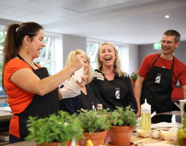 Image of students enjoying a Cookery Class at Food Sorcery Cookery & Barista School Didsbury, Manchester.