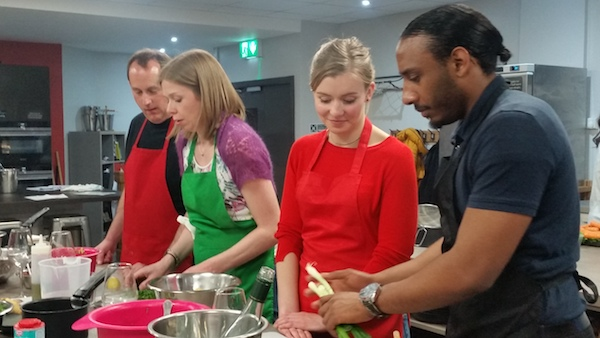 Image of Cooking together Couples at Food Sorcery Didsbury Manchester Vegetarian