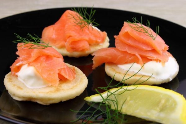 Image of Smoked Salmon Blinis made at Food Sorcery cookery school didsbury, Manchester