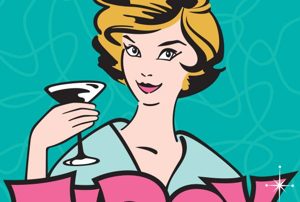 Image of a cartoon lady holding a cocktail