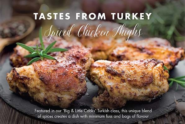 Image of Spiced chicken thighs at Food Sorcery Cookery School Didsbury Manchester