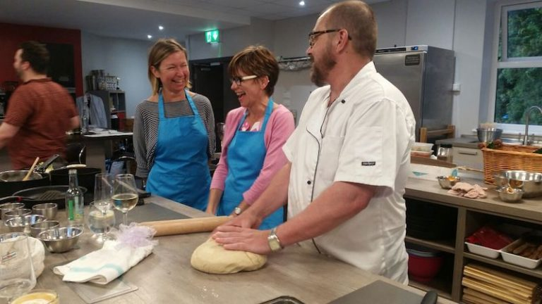 image of laughing with chef making How to make Salt Dough crust Fish at Food Sorcery