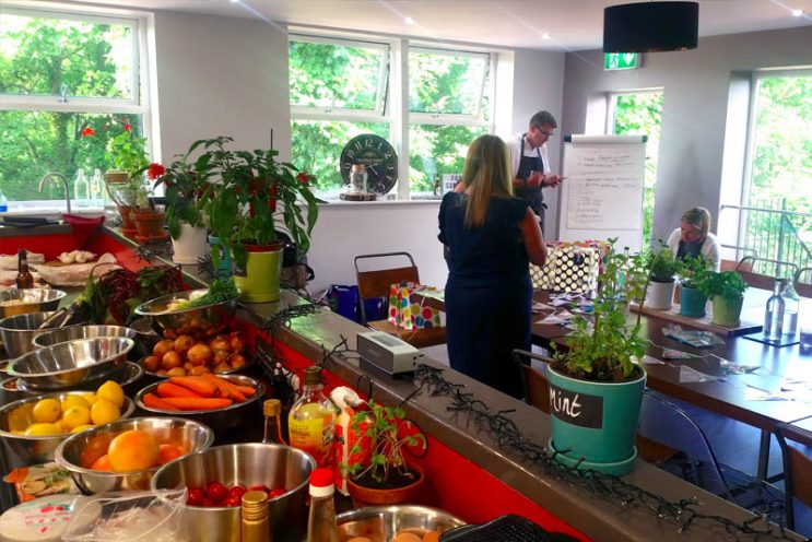 image of Aon Team building presentation at Food Sorcery cookery & barista school Didsbury Manchester