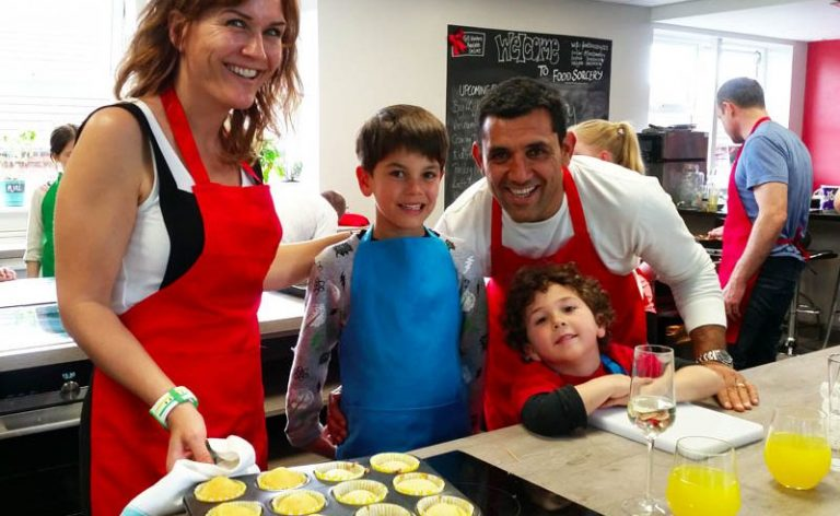 image of Big & Little Cooks family at Food Sorcery cookery & barista school Didsbury Manchester