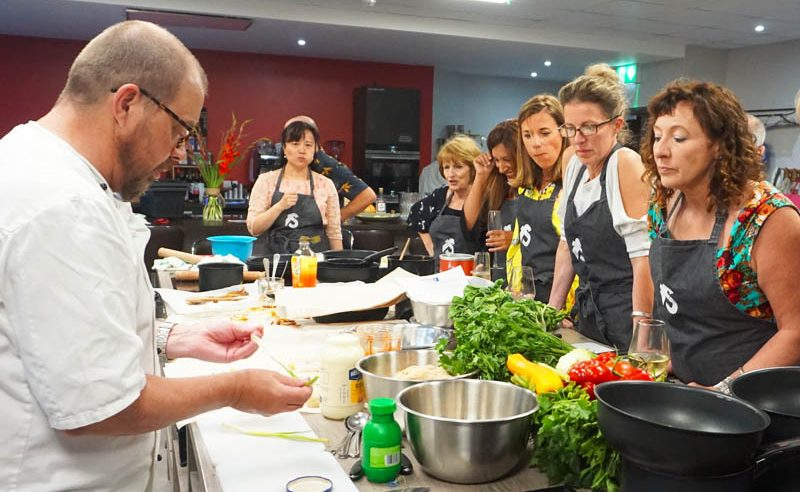 image of Cooking Together ladies at Food Sorcery private dining for 24 people