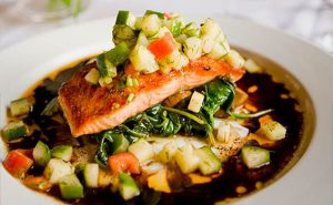 image of Salmon dish at Food Sorcery cookery school Didsbury