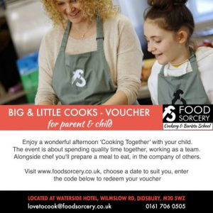 image of cookery gift voucher for parent and chilkd Big & little Cooks at the cookery school Manchester