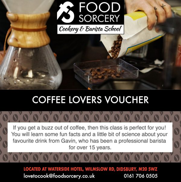 image of coffee gift voucher at the cookery shcool Manhcester near Wilmslow and Cheshire