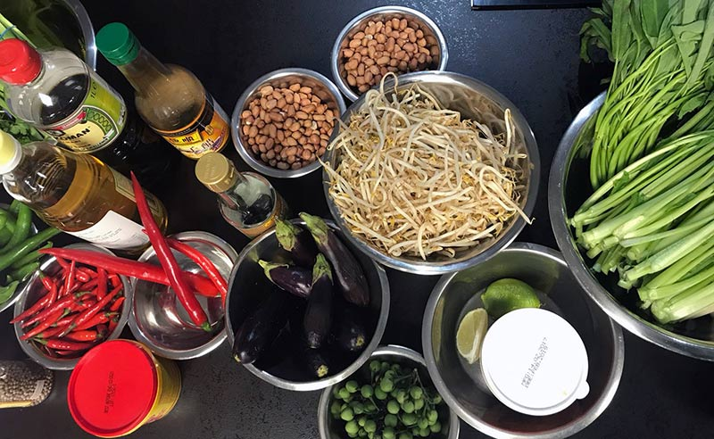 image of asian ingredients for cooking together at food sorcery vegetraian & vegan cookery