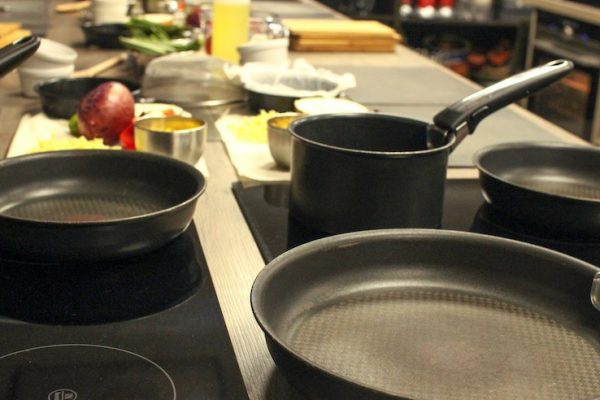 image of pans by Kat Horrocks Cooking together blog at Food Sorcery includes Vegan cookery class