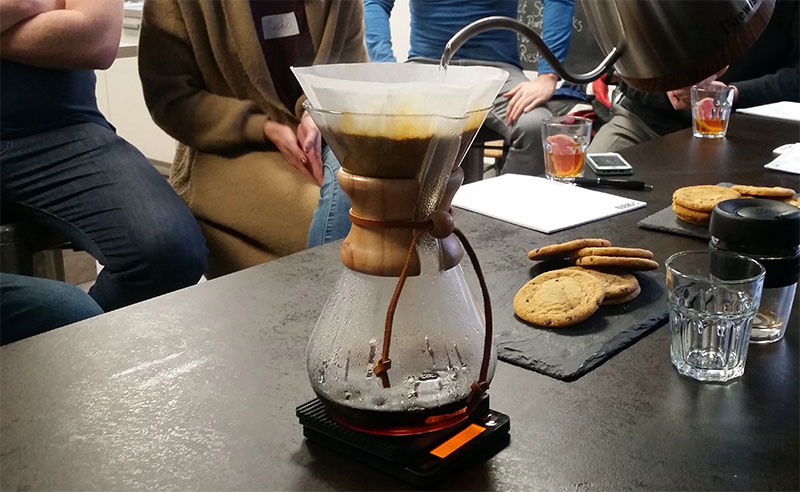 Image of slow steeped coffee at Food Sorcery coffee lovers class with chemex wood neck coffee maker