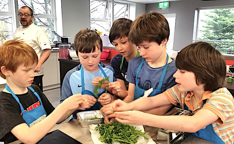 image of boys choosing herbs at Food Sorcery cookery camp things to do in the holidays