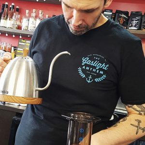 image of Barista Gavin ready to pour into Aeropress Coffee Maker using gooseneck kettle