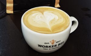 image of worker bee coffee I love manchester and Forever Manchester charities at Food Sorcery 100 club
