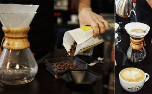 Image of Barista pouring coffee at Food Sorcery coffee lovers class, Didsbury, Manchester