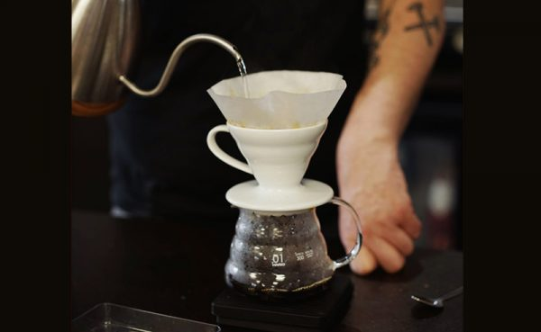 image of pouring into haria ceramic dripper and range server at Food Sorcery Cookery and barista school