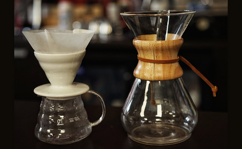 image of chemex wood neck cofee maker and haria ceramic dripper and range server at coffee lovers class didsbury manchester
