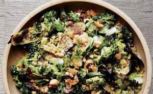 image of roast broccoli and peanut salarad made on the vegetaraina bbq at Food Sorcery