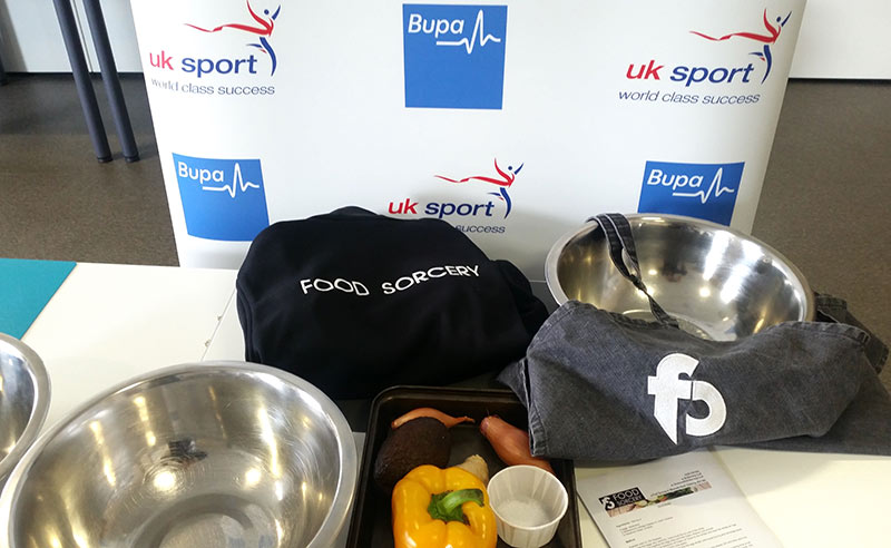 image of workplace wellness uk sport and food sorcery logos and bowl