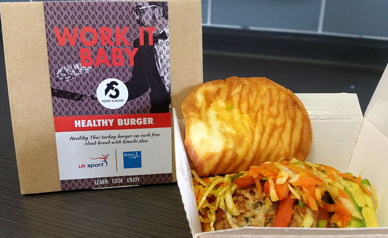 image of workplace wellness at UK sport and Food Sorcery healthy burger