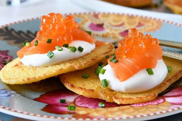 image of salmon cream cheese and caviar blini at Food Sorcery Didsbury