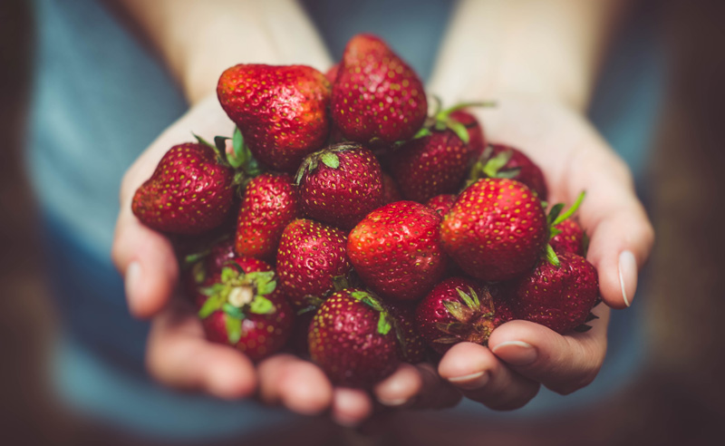 image of holding strawberries at Food Sorcery Didsbury