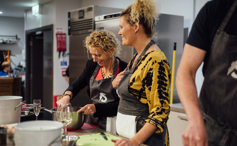 Image of Fit Food Class ladies Cooking together at Food Sorcery, Didsbury