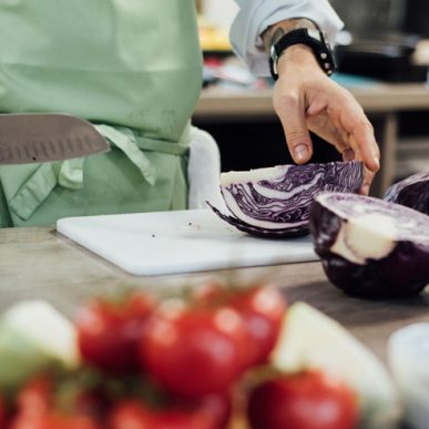 Image of Fit Food Class chopping red cabbage at Food Sorcery, Didsbury