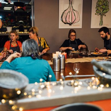 Image of Fit Food Class at the dining table enjoying their meal at Food Sorcery, Didsbury