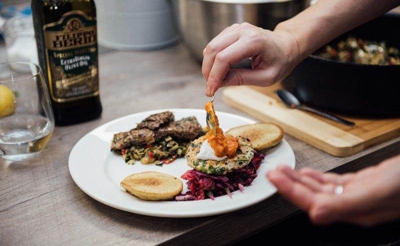 Image of Fit Food sliced steak and turkey burger at Food Sorcery. Didsbury