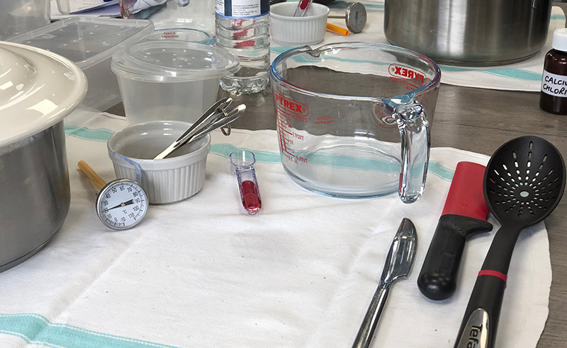 image of ingredients for how to make feta cheese at cheese making class didsbury Manchester
