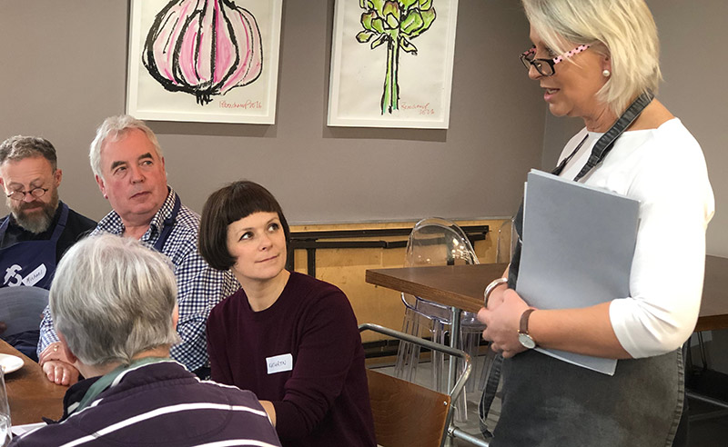 image of Louise Talbot Master of Cheese taking to guests at Cheese Making Class