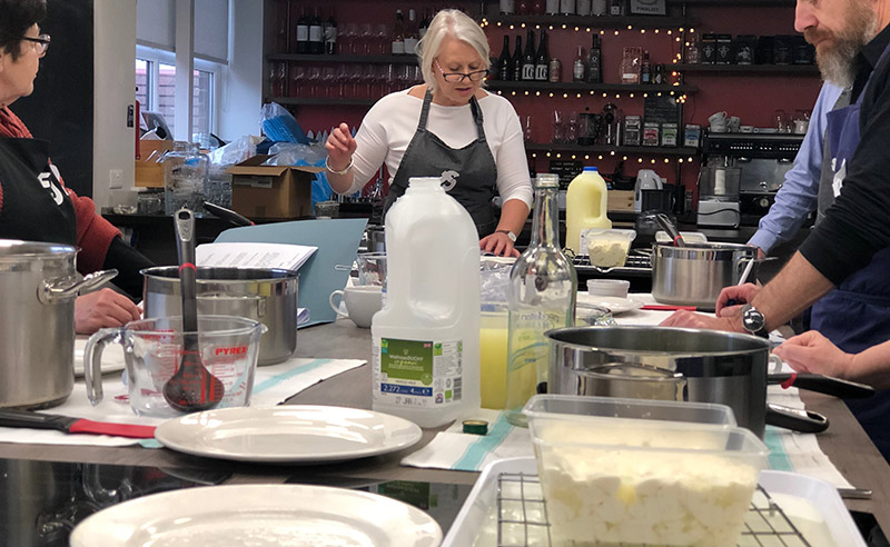 image of cheese making class at Food sorcery with Academy of Cheese maker Louise Talbot
