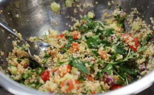 Image of Muscle Gain Fit Food Class Freekeh Tabbouleh ingredients in mixing bowl at Food Sorcery, Didsbury