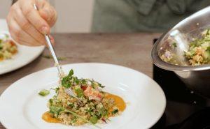 Image of Muscle Gain Fit Food Class serving MACADAMIA-CRUSTED COD, FREEKEH TABBOULEH, TANDOORI SQUASH