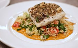 Cashew Crusted Cod with Squash Puree and Quinoa Tabbouleh