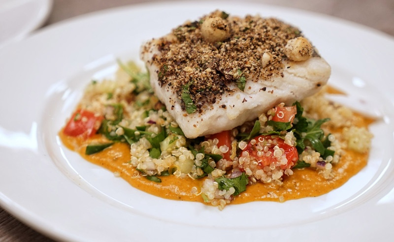 Image of Muscle Gain Fit Food Class MACADAMIA-CRUSTED COD, FREEKEH TABBOULEH, TANDOORI SQUASH