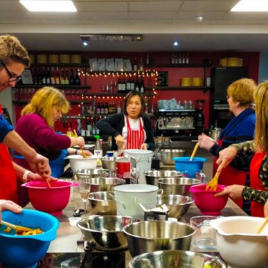Art of Kimchi class with Hyeon Jeong of Gilded Gingerbread Mixing Kimchi ingredients at Food Sorcery, Didsbury