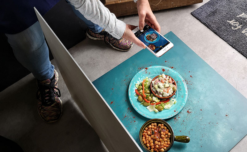image of food photography behind the scenes takeing pics of food