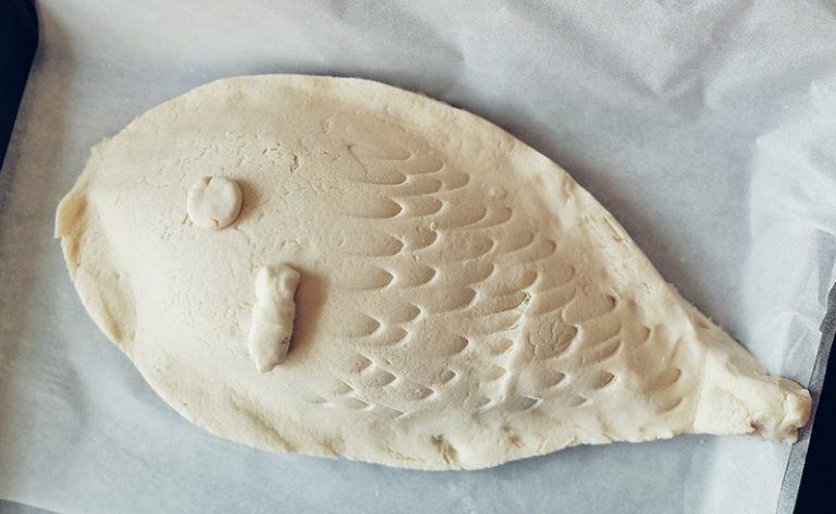 image of fish shaped salt crust dough ready to cook
