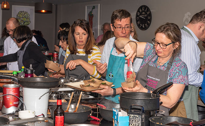 image of Cheshire cookery school Lisa cooking Food Sorcery prevent breast cancer masterchef invention test