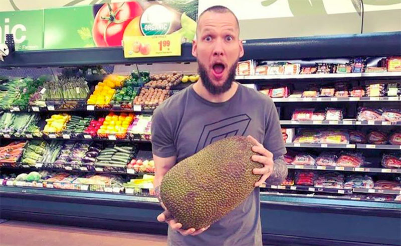 image of Jan Cron from Tailored Chefs with a Jack Fruit for research into cookery class