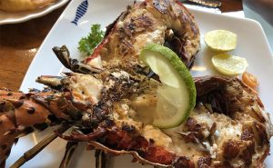 Image of Sri Lankan lobster with lime at Lagoon restaurant Colombo research for cookery class