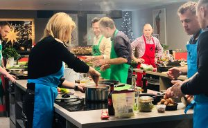 image of Sunday cooking together at the cookery school Didsbury near Cheshire