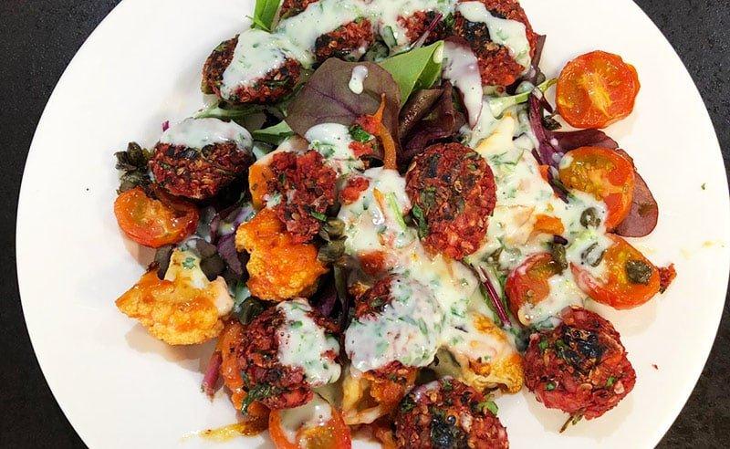 image of Vegan cookery classes buffaloe cauliflower salad recipe