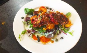 Buffalo Cauliflower Salad with Beetroot Falafel