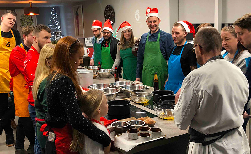 image of Christmas cooking party at cookery school Cheshire