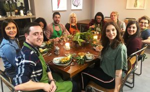 image of thai Green curry made at the Cookery school Manchester near Cheshire dining together