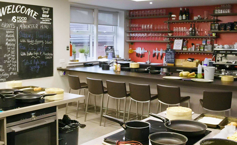 image of the bar at the cookery school cooking classses Manchester