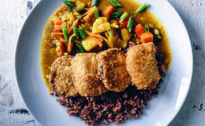 Aubergine Katsu Curry with Stir-fried Red Rice